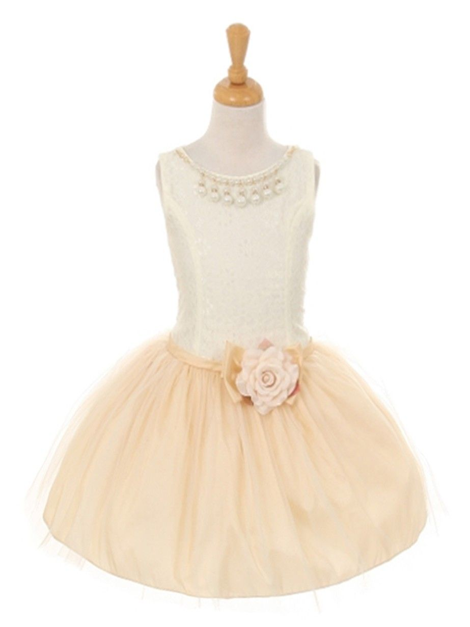 8c766c7e6 Champagne Lace and Taffeta Flower Girl Dress (Available in Sizes 2 ...