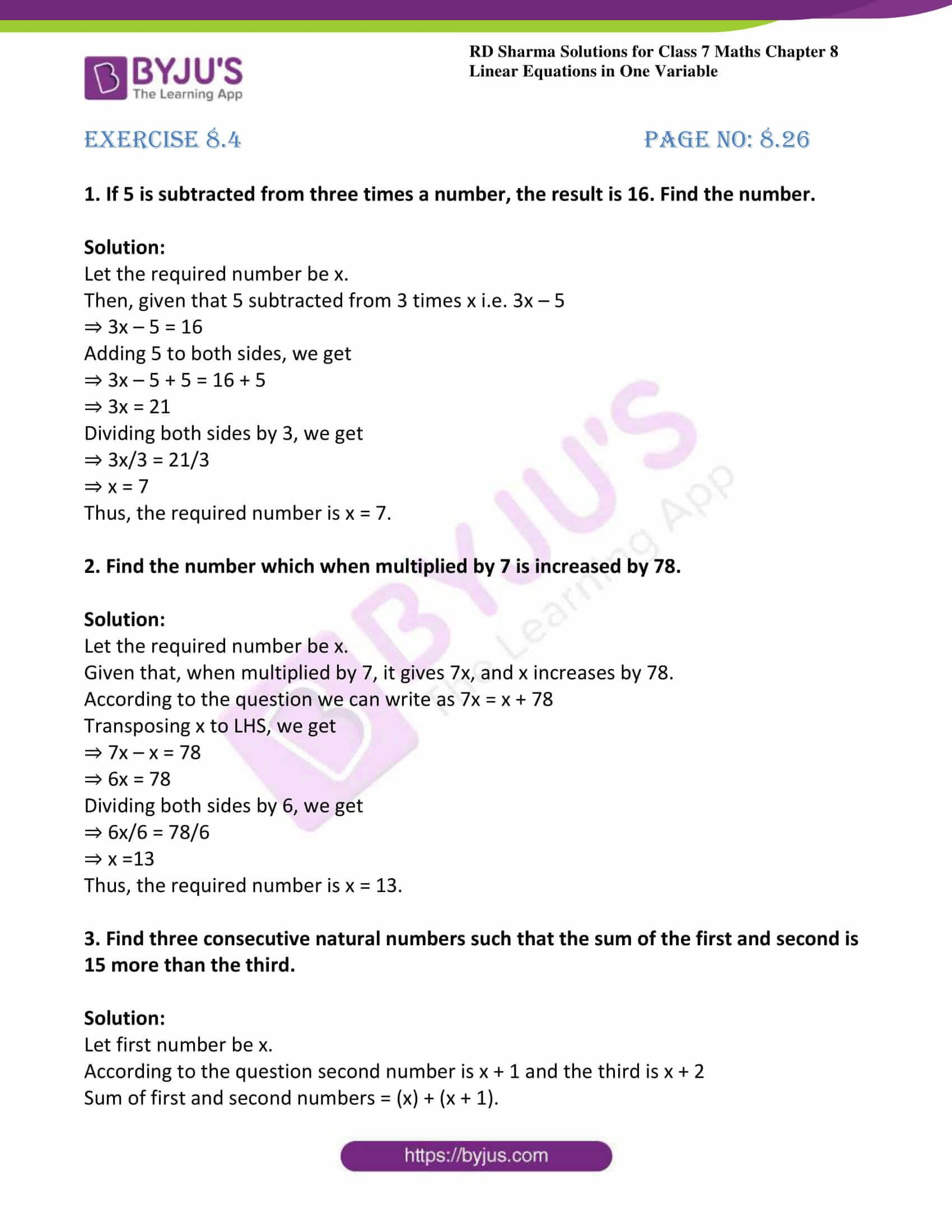 Linear Equations In One Variable Class 8 Worksheets Byjus