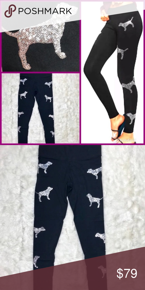 688ab87b83bef Victoria's Secret PINK Bling Leggings Silver DOG NWT in 2019 ...