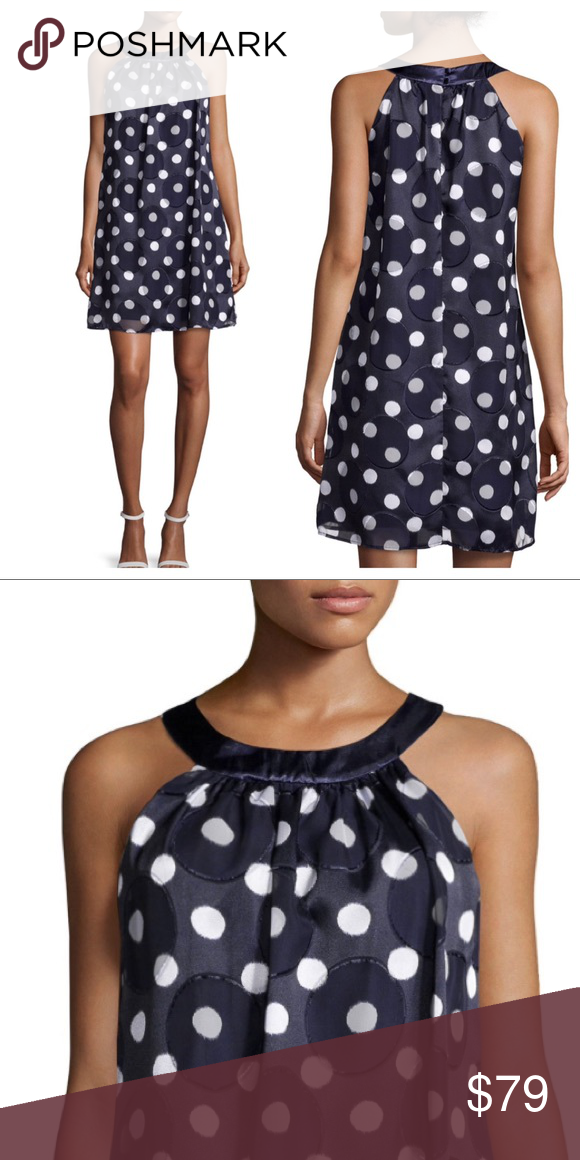 Muse blue white polka dot halter shift dress NWT Adorable dress from Muse! Features a satin banded halter neckline, navy blue base with mixed polkadot print in smaller white and larger tonal sheer chiffon. A-line shift dress silhouette, polyester. Muse Dresses Mini