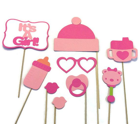 Girl Baby Shower Photo Booth 9 Piece Photo Booth Prop Set Ideas