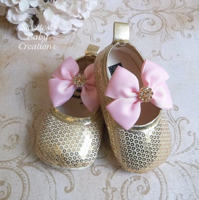 eb9efb91a5081 Gold Baby Shoes for a Pink and Gold First Birthday Outfit - Gold ...