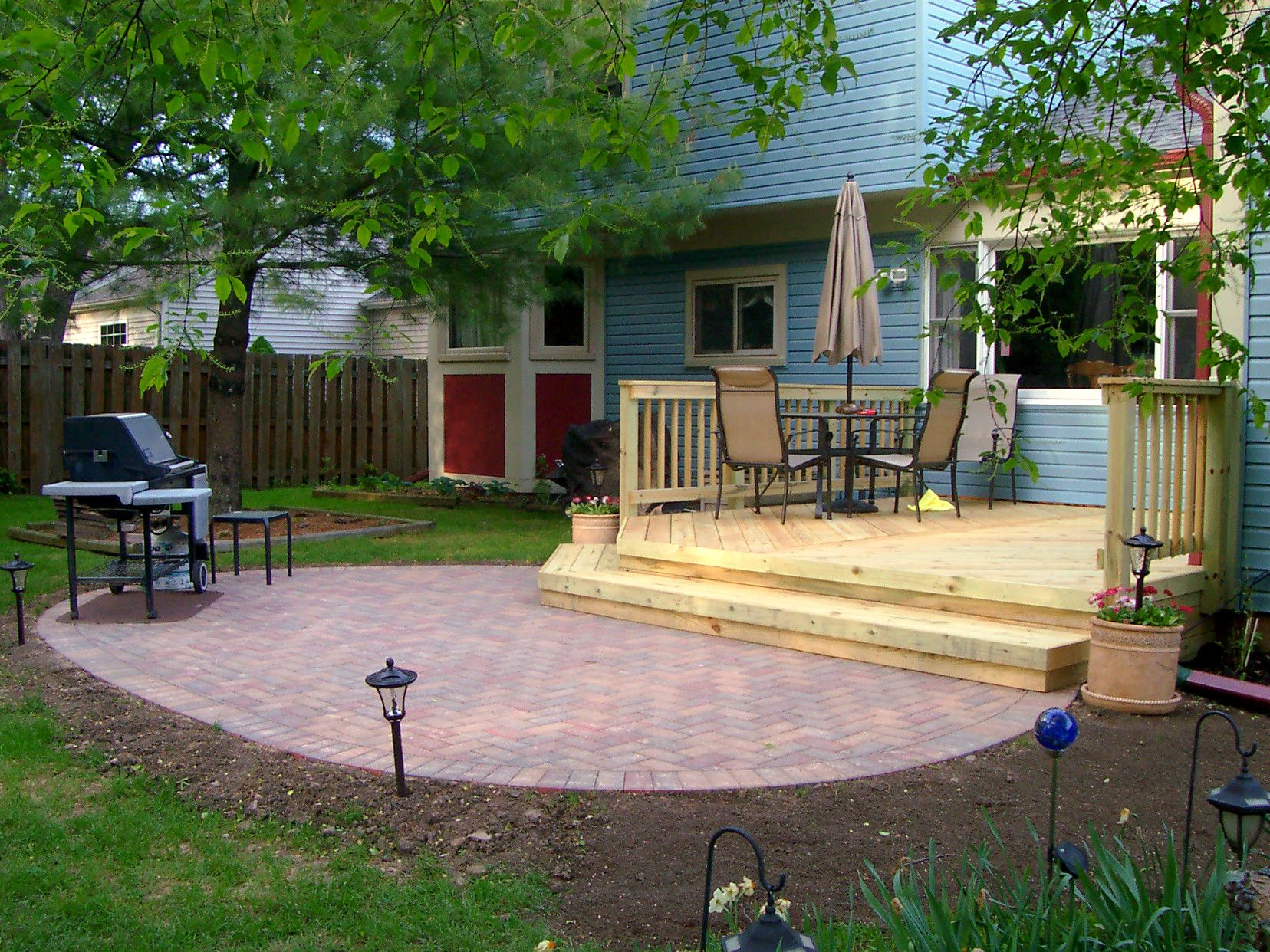 wood deck design with patio by chicago