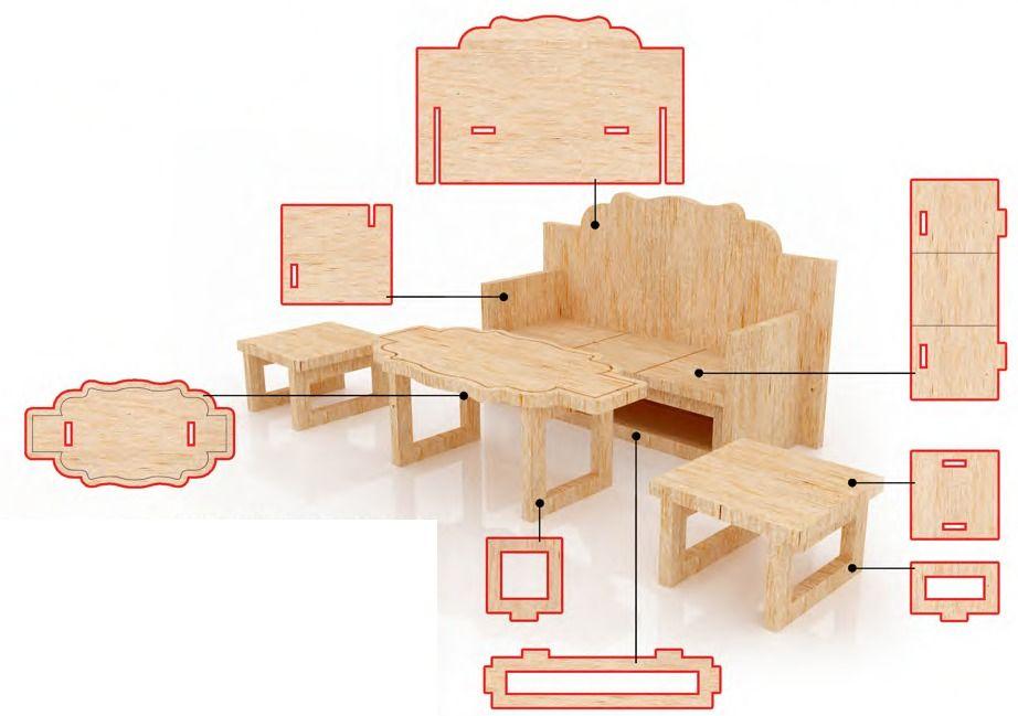 143641830719 Muebles Para Casa De Muñecas Mdf Kit De Muebles Miniatura -   165.00 ...