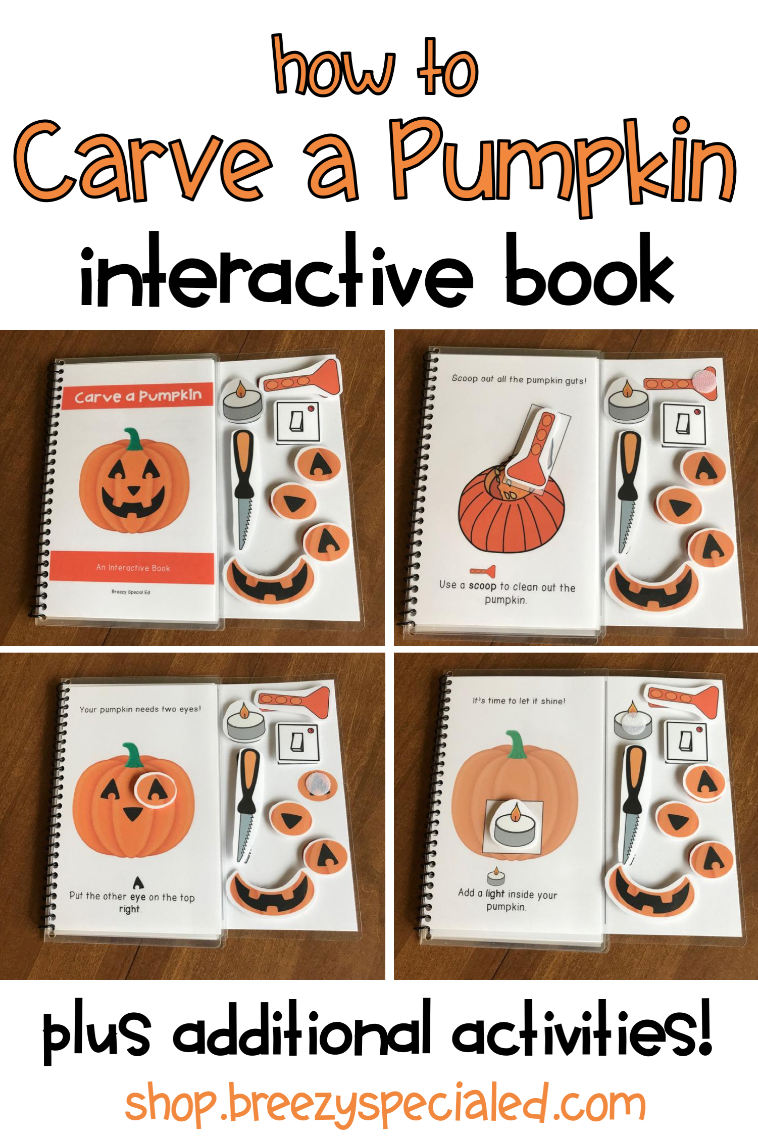 Pumpkin Jack O Lantern Adapted Book Task Cards And More