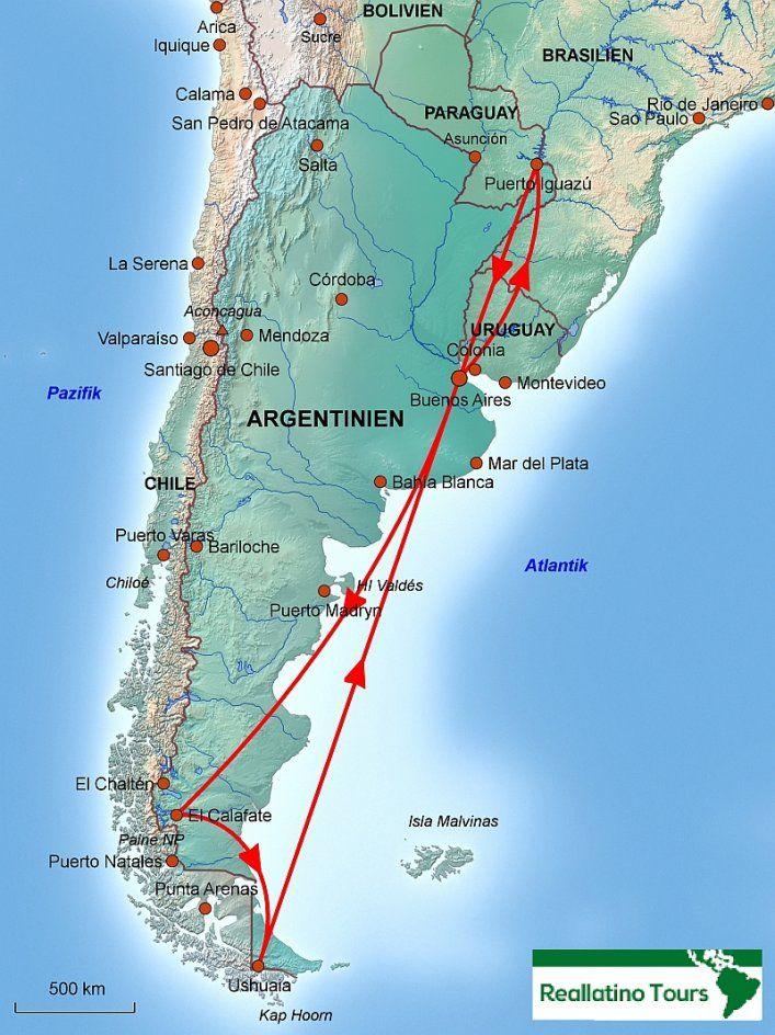 Chile Patagonien Karte.Karte Reiseverlauf Argentinien Rundreise Argentinien