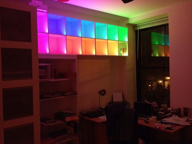 Color changing box shelves with led strips and arduino leds