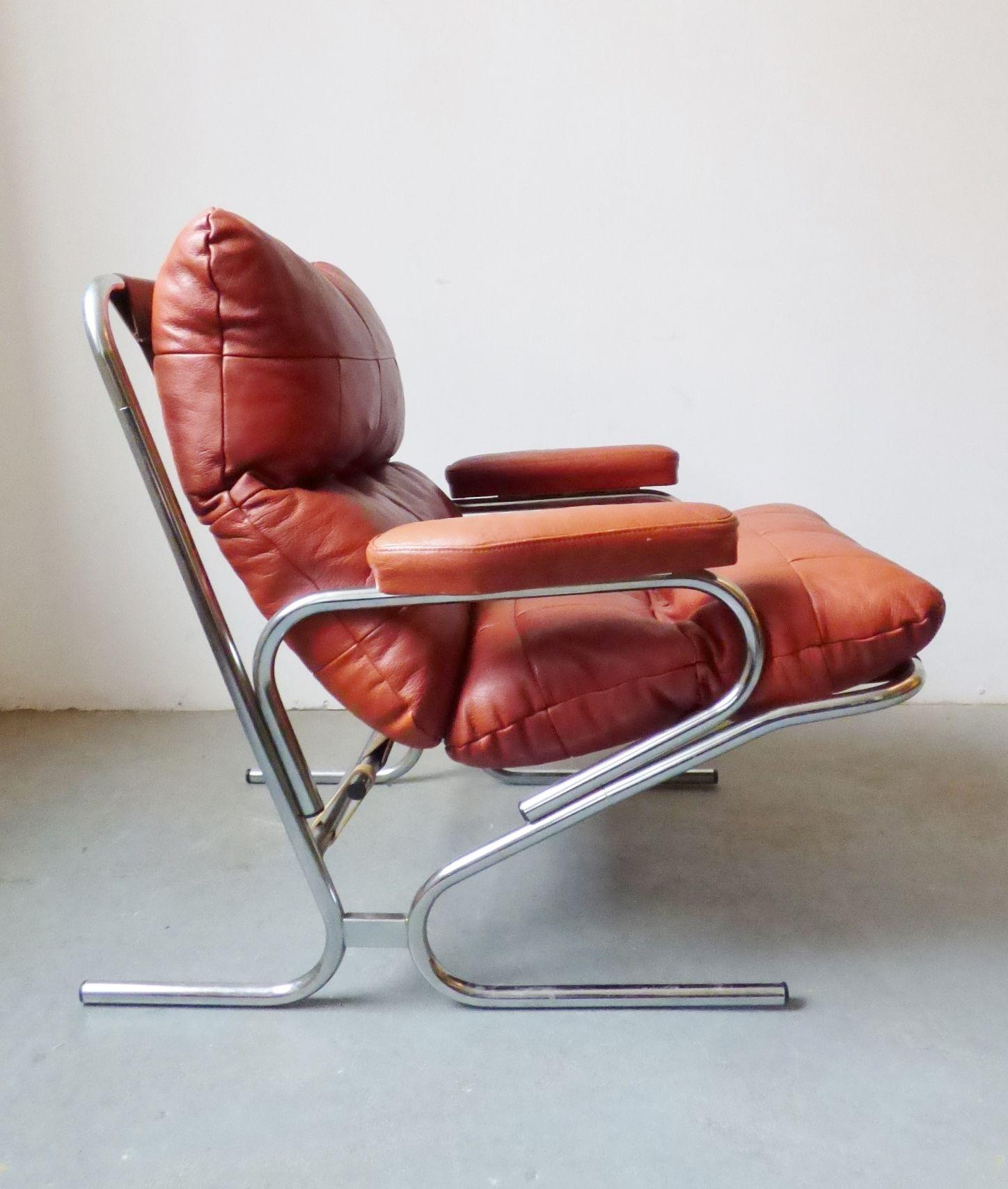 1960s Danish Chrome And Leather Armchair By Skipper Furniture Leather Armchair Mid Century Furniture Chrome Chair