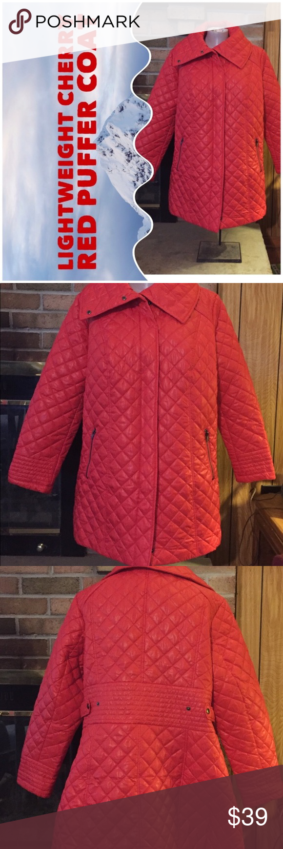 Lightweight Cherry Red Puffer Coat NWT (With images) Red