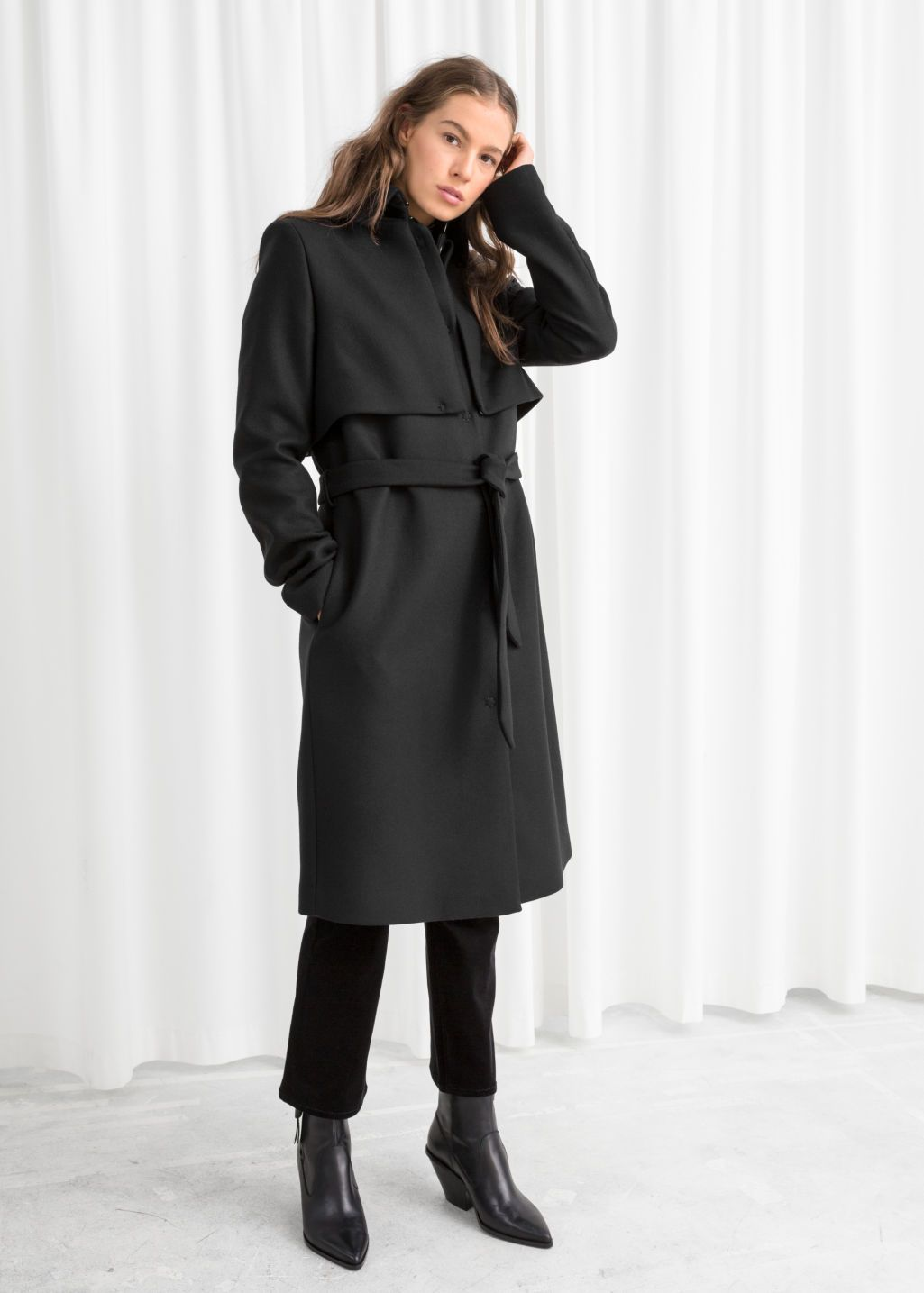 Belted Wool Blend Trenchcoat | Trench coat, Manteau, Mode