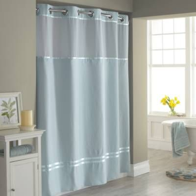 Product Image For Hookless Escape Fabric Shower Curtain And Shower Curtain Liner Set Fabric Shower Curtains Blue Shower Curtains Hookless Shower Curtain