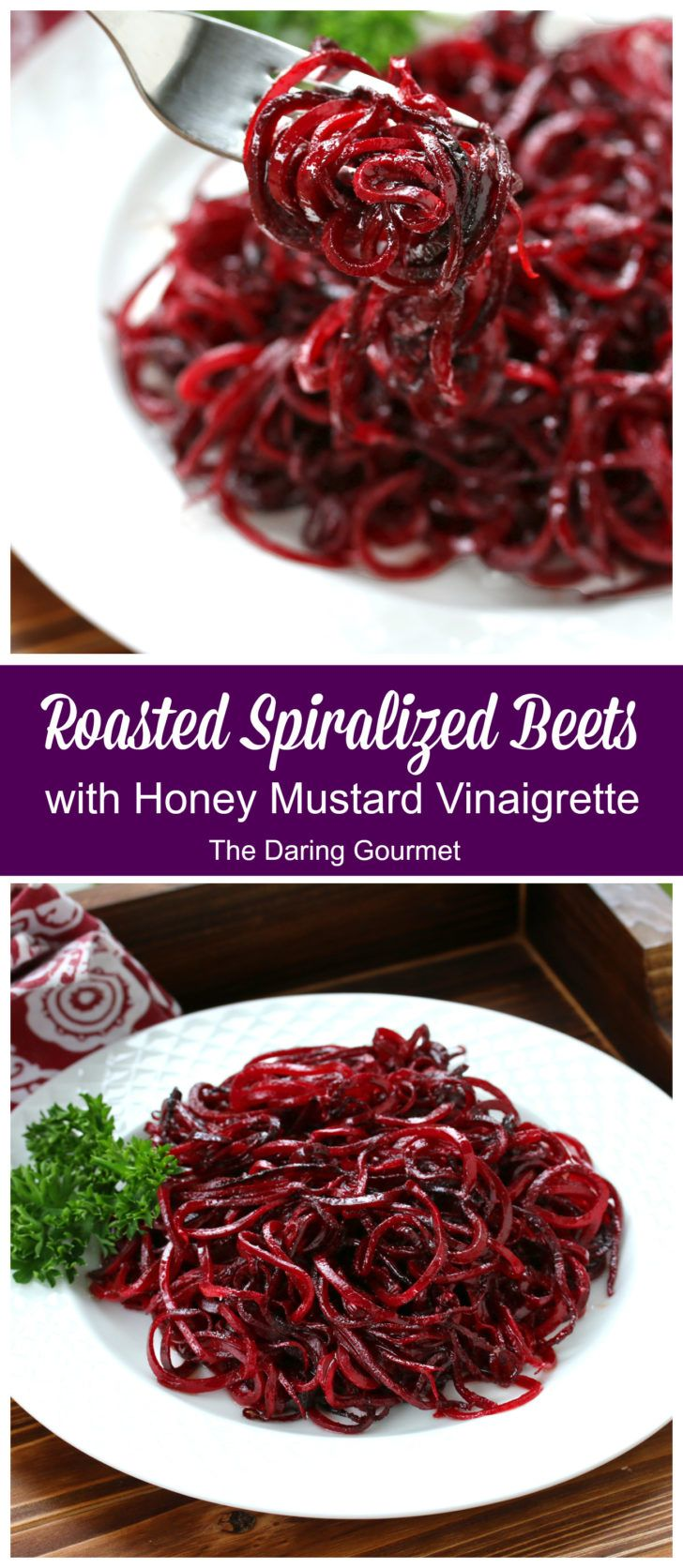 Roasted Spiralized Beets with Honey Mustard Vinaigrette