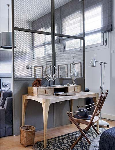 industrial style, interesting room divider