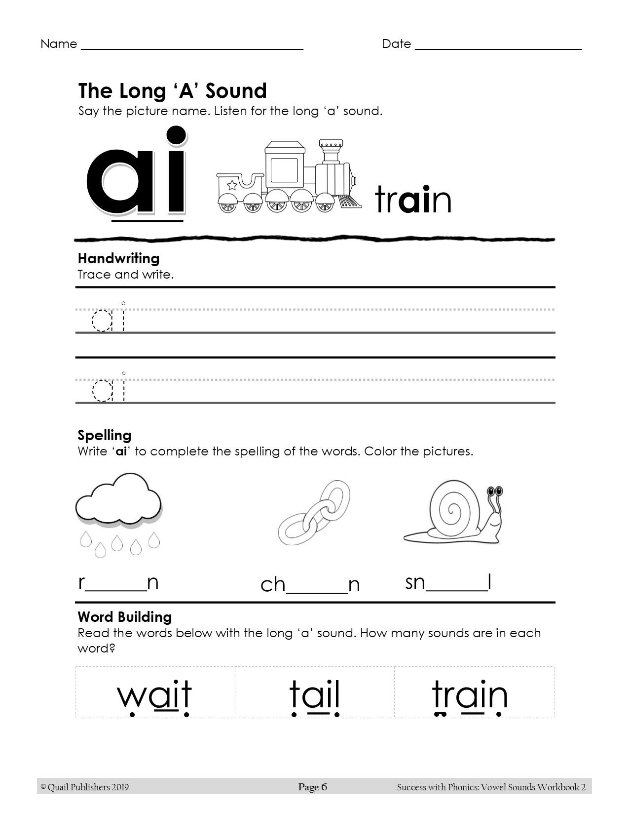 Great Activities To Learn The Ai Spelling Of The Long A Sound In The Success With Phonics Vowel Sounds Workbook 2 Phonics Phonics Worksheets Vowel Sounds [ 1650 x 1275 Pixel ]