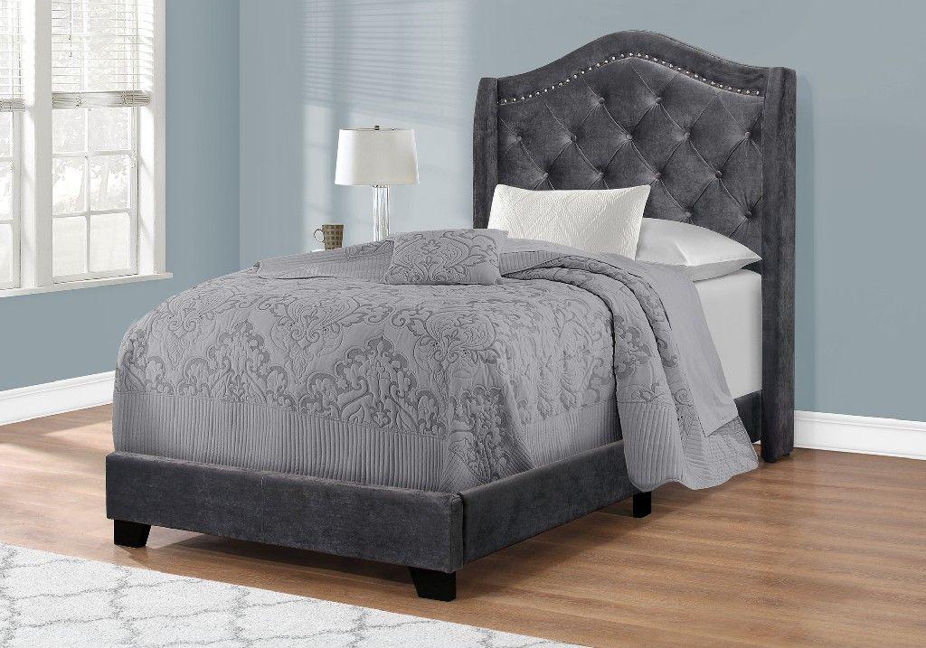 Bed Twin Size Dark Grey Velvet With Chrome Trim Monarch