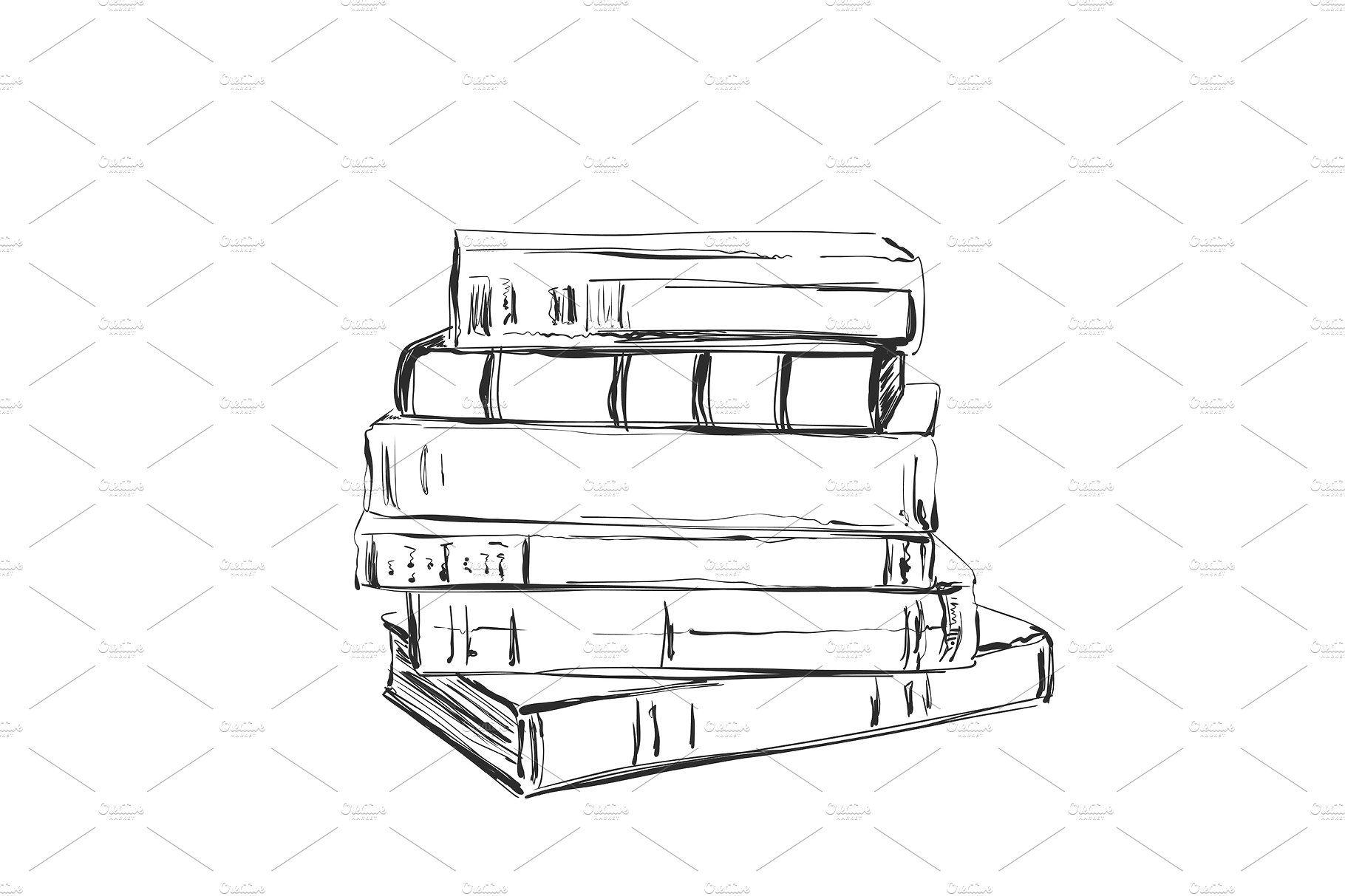 Hand Drawing A Pile Of Books Sketching Pile Of Books How To Draw Hands Book Drawing