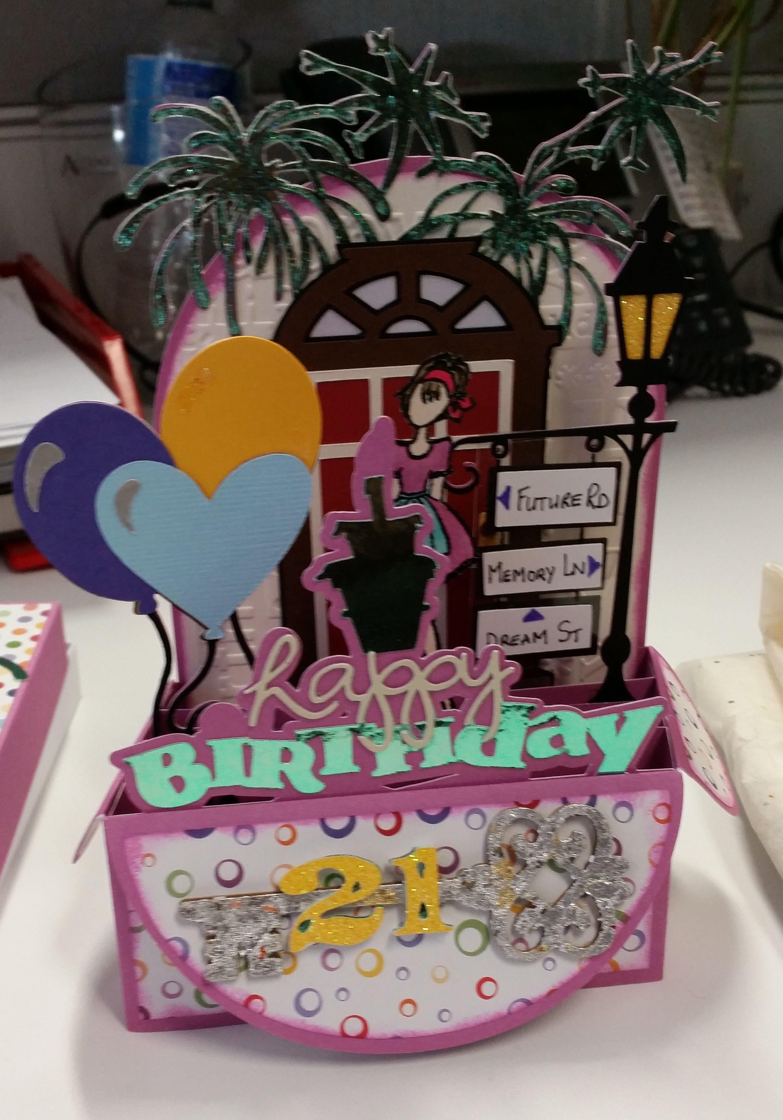 21st birthday box card Card box, Birthday box, Card craft