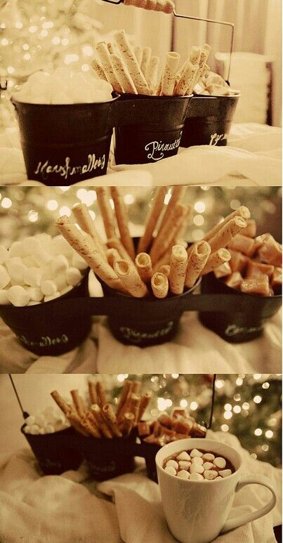 Hot chocolate bar! Great idea for a holiday party! Projects to Try