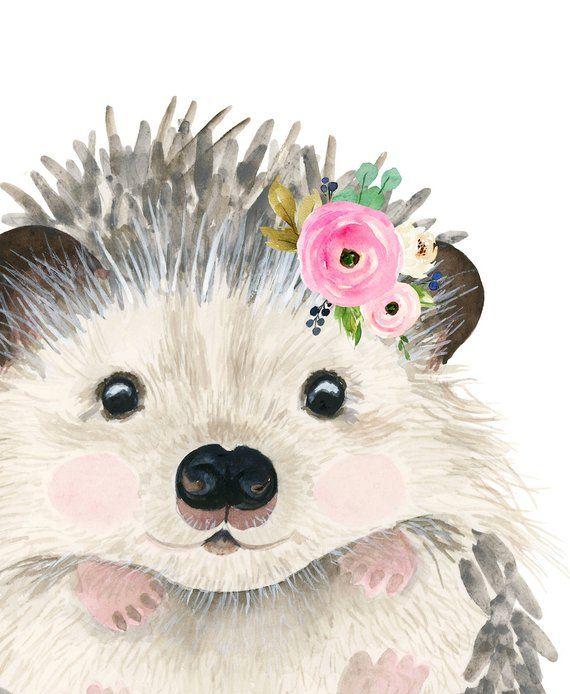 Floral baby hedgehog, Watercolor hedgehog,  Animal art, hedgehog baby, Animal Wall Art, Childrens Wall Decor, Kids poster, fox painting