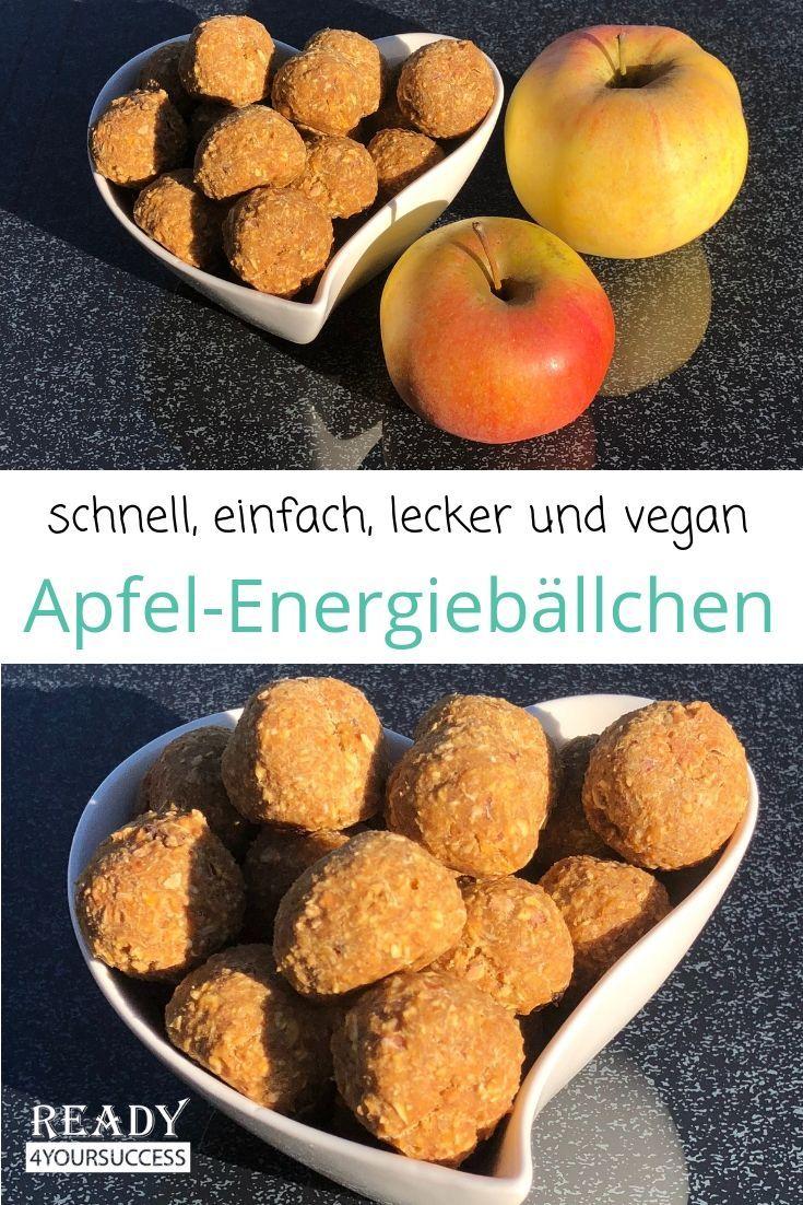 Apfel-Energiebällchen Gesunde Apfel-Energiebällchen sind im Handumdrehen gemacht, sie sind mit nur wenigen Zutaten nicht nur super lecker und gesund, sie sind vegan und, wie der Name schon sagt, stecken voller Energie. Ideal für den kalorienarmen, vollwertigen Snack zwischendurch, als leckere Kleinigkeit