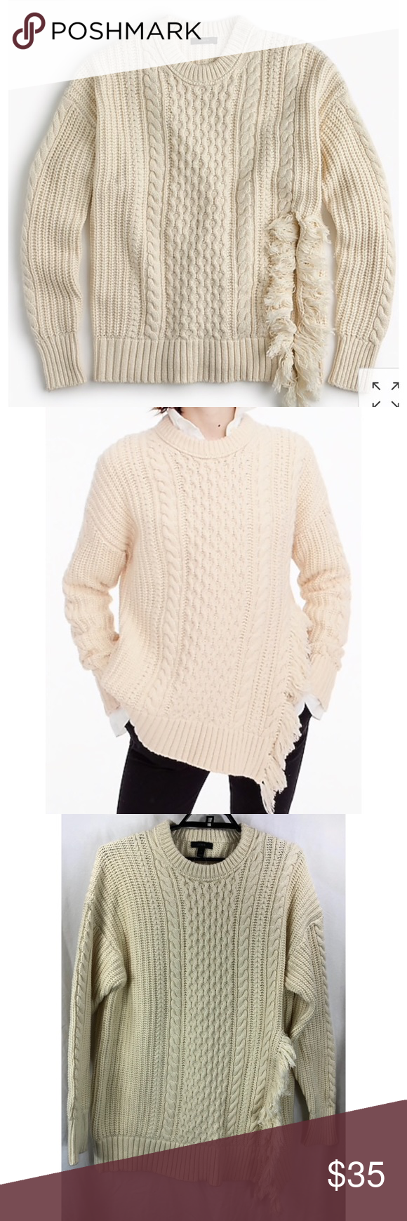 96cb3cc4fb0610 J Crew fringe cable knit pullover sweater 7505 J Crew Ivory fringe detail cable  knit pullover sweater 7505 original retail price $118 style: H3677 oversize  ...