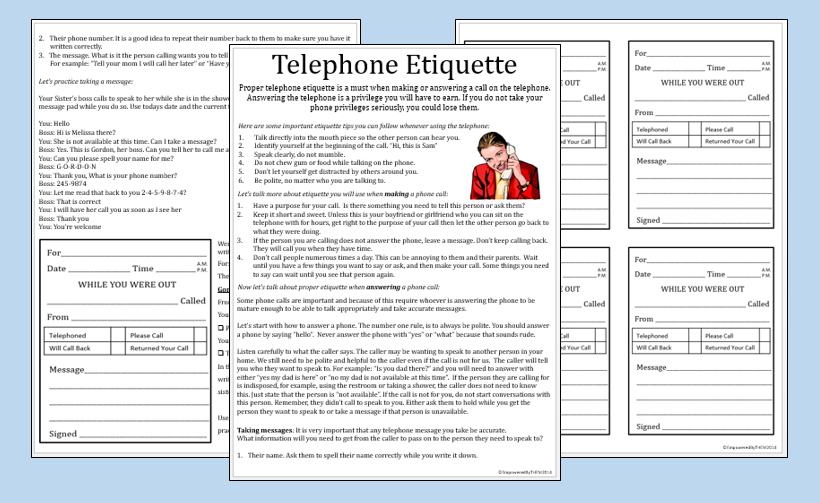 Telephone Etiquette Worksheets Include Practice Message Pads