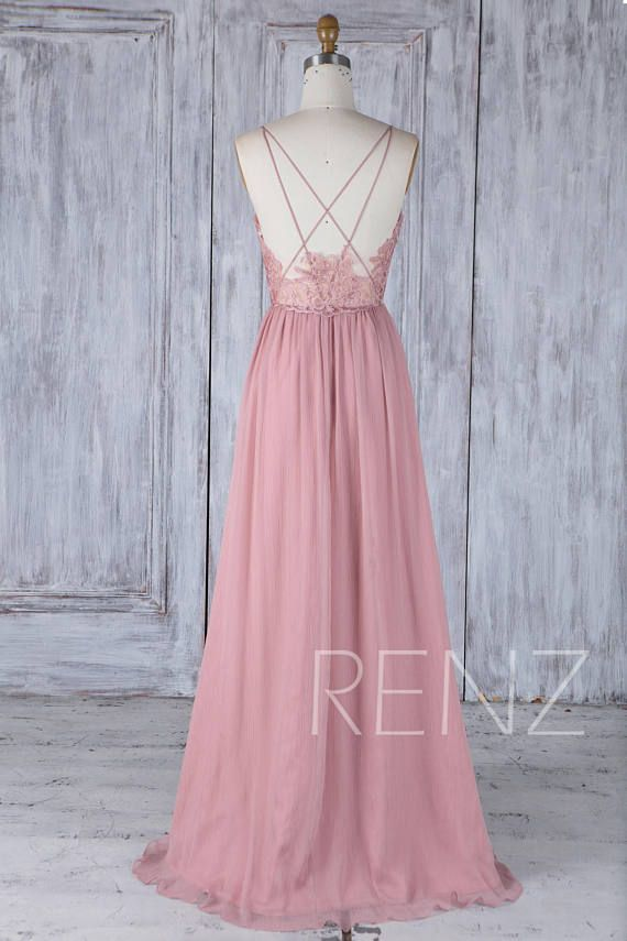 Bridesmaid Dress Dusty Rose V Neck Wedding Dress,Spaghetti Straps ...