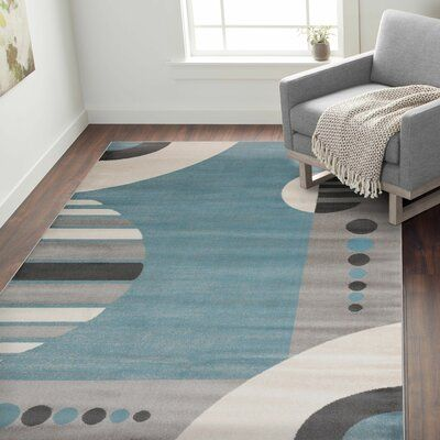 Ebern Designs Devonshire Circles Pattern Blue Area Rug Rug Size Rectangle 2 X 3 Rug Gallery Rugs Circle Rug
