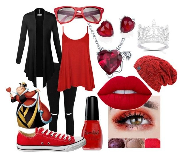 """""""fall hearts"""" by zombiebarbie1333 on Polyvore featuring Boohoo, WearAll, Wet n Wild, Bling Jewelry, Adriana Orsini, Finesque, Converse and Ray-Ban"""