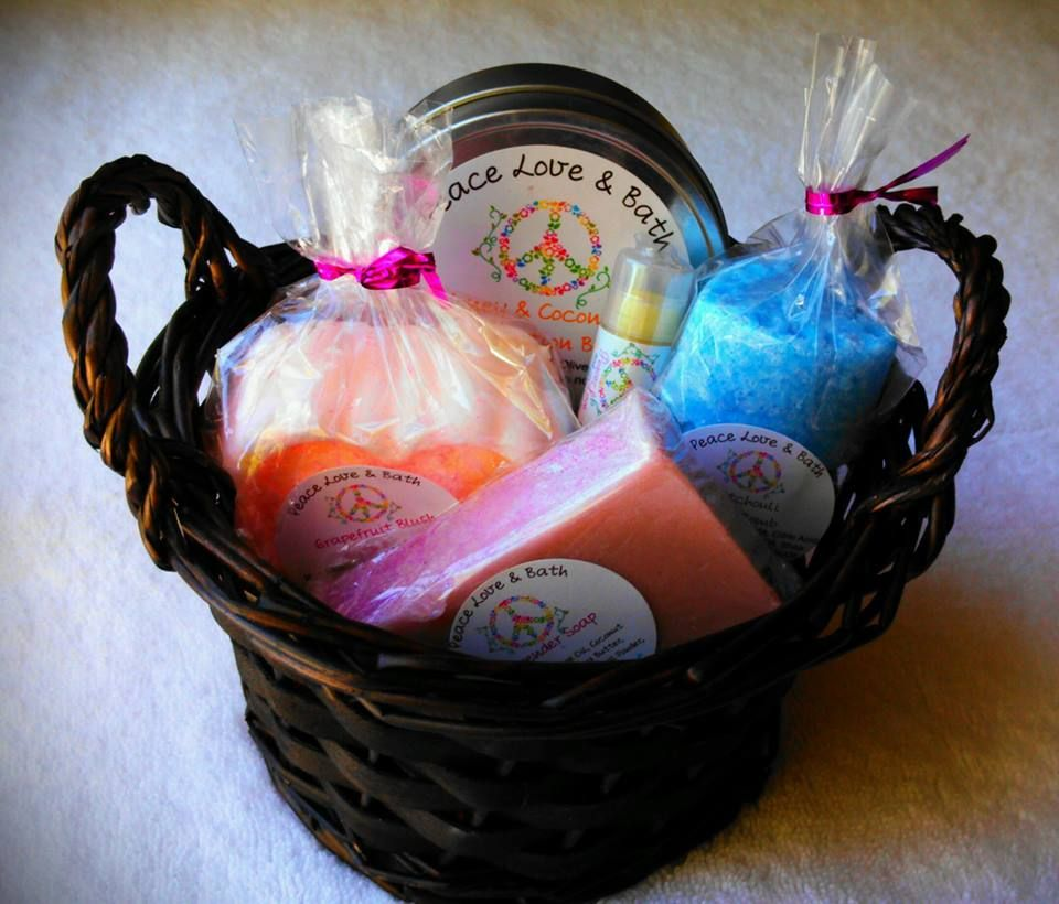 Medium Gift Basket Full Of All Natural Soaps, Lotions