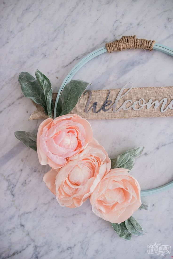 Photo of Hoop Wreath with DIY Fabric Flowers | The DIY Mommy