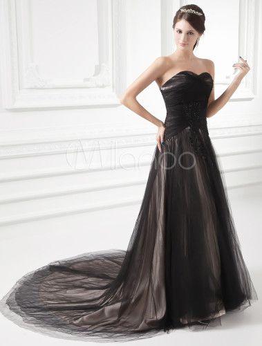Glamouröses A-Linie-Brautkleid aus Netz mit Herz-Ausschnitt und ...