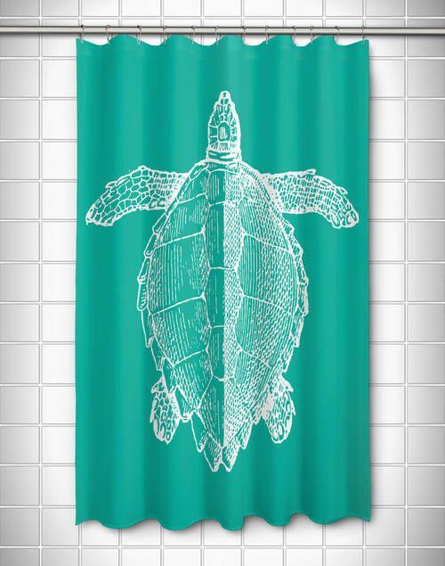 Vintage Large Sea Turtle Shower Curtain Turtle Bedroom Beach