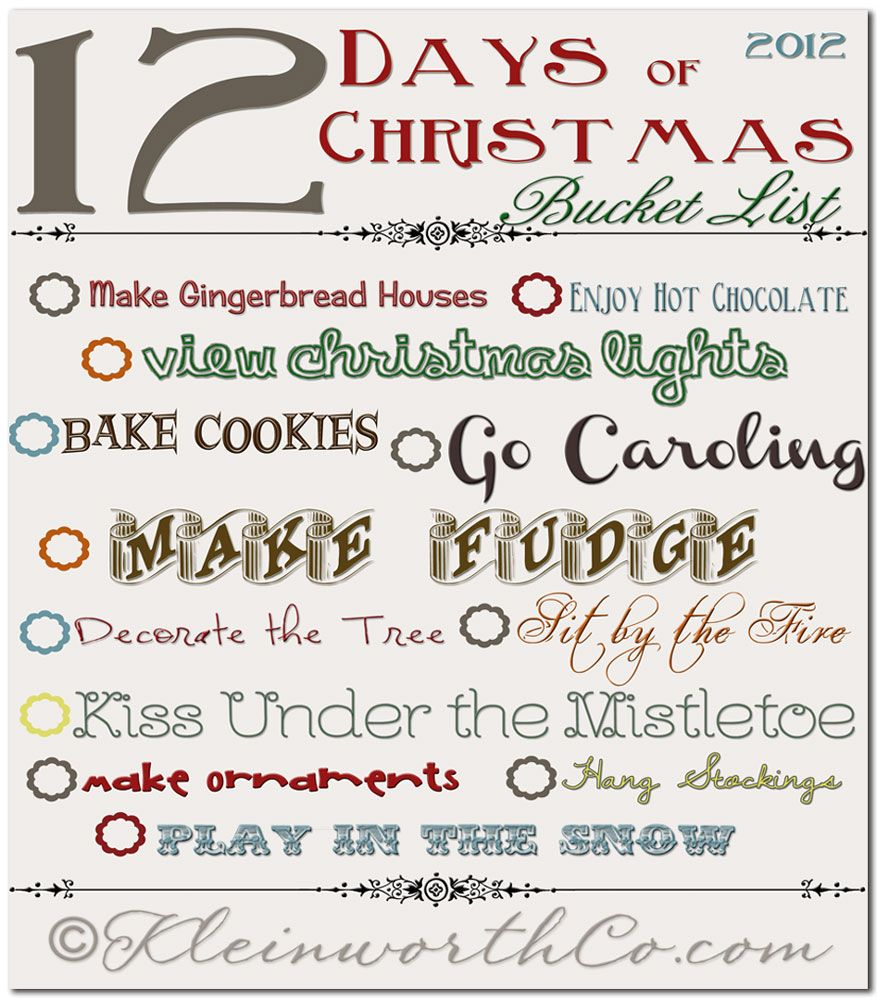 12 days of Christmas Bucket list, Free Printable | DIY/ Crafts ...