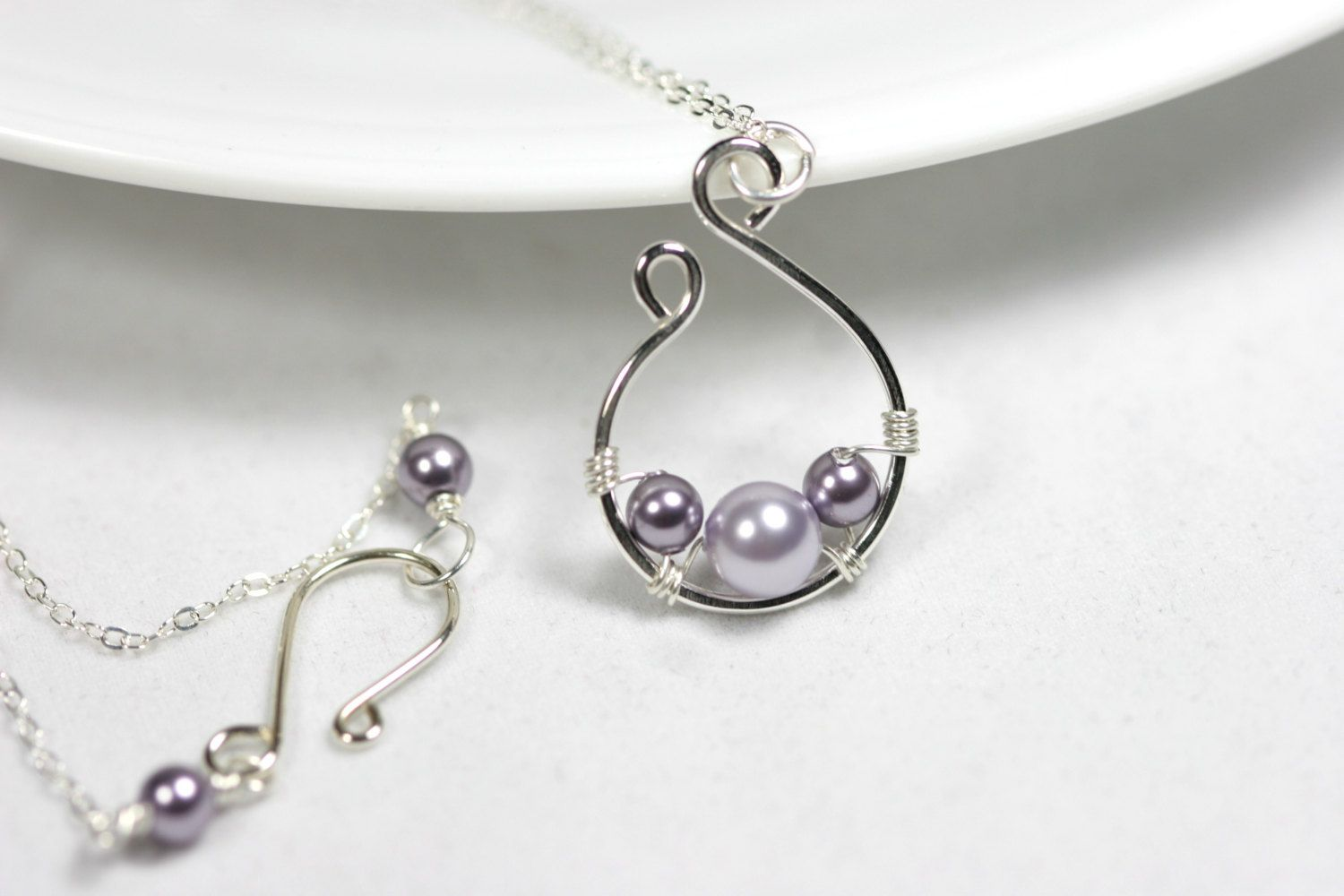 Lavender Pearl Necklace Wire Wrapped Jewelry Handmade Sterling ...