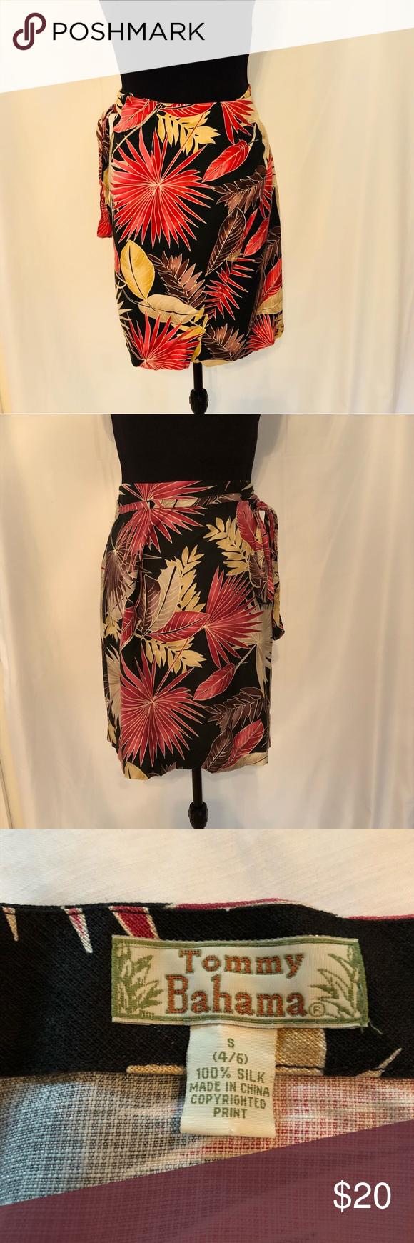 b5e4a5b6feb9 Tommy Bahama Women Black Silk Hibiscus Wrap Skirt Tommy Bahama Women s Black  100% Silk Hibiscus