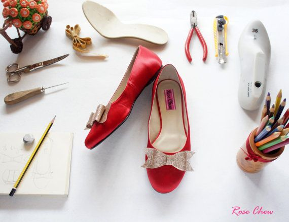 Red bowred wedding shoesred bridal shoesred by RoseChew on Etsy