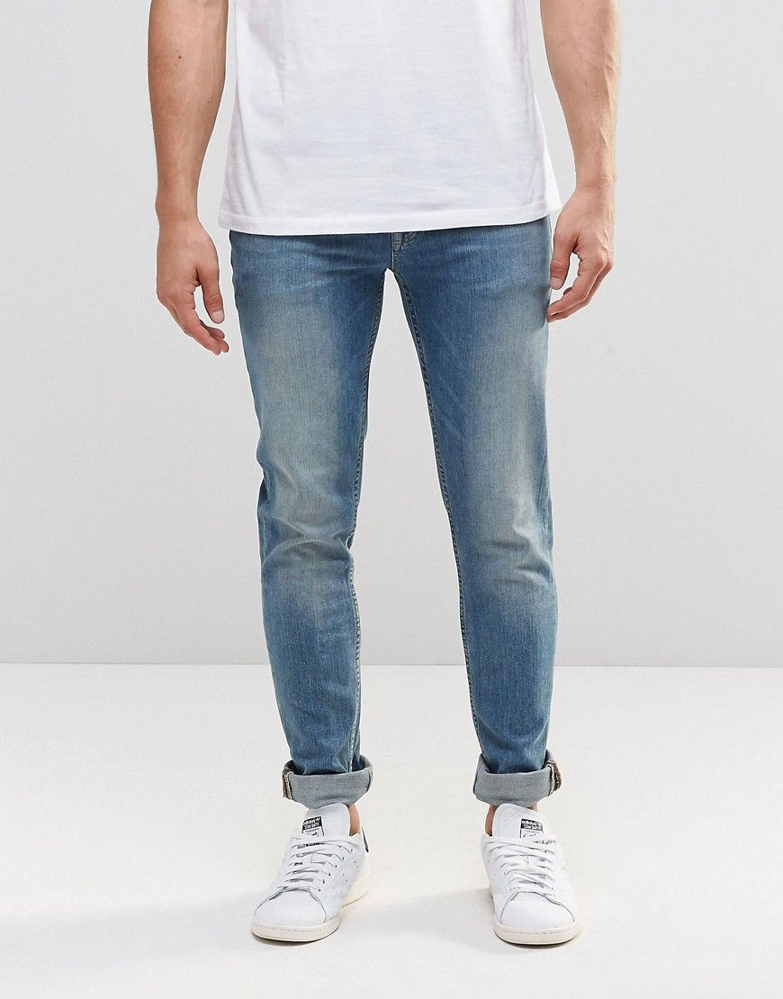 Skinny Jeans With Knee Rips In 12.5oz Light Blue - Light wash blue Asos Discount Get Authentic 75hyc