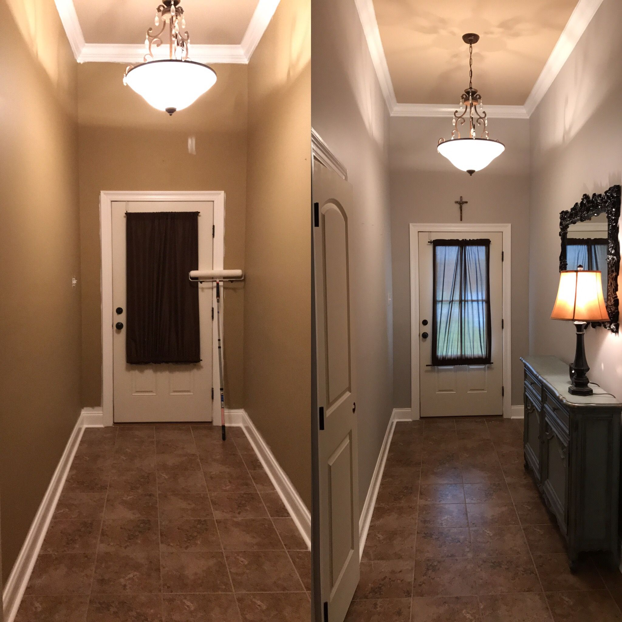 Behr Marque silver city matte sheen before and after