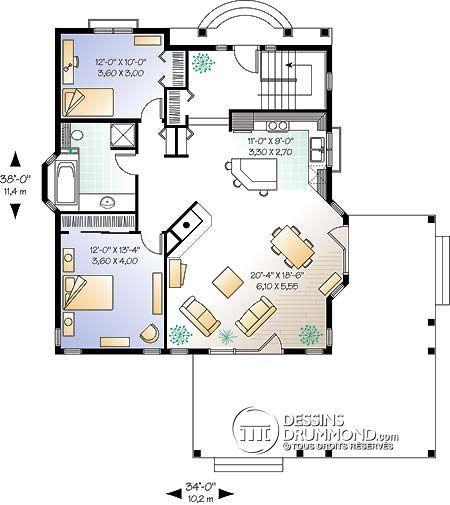Plan de Maison unifamiliale W2353 Maison Pinterest Garage - dessiner une maison en 3d