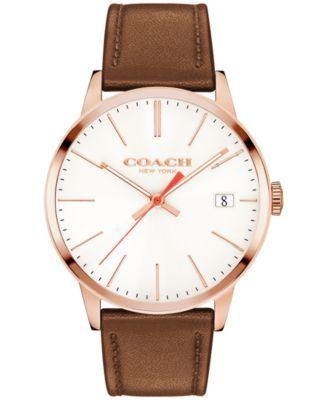 40516ba7452de COACH Men s Metropolitan Brown Leather Strap Watch 43mm 14602095 ...