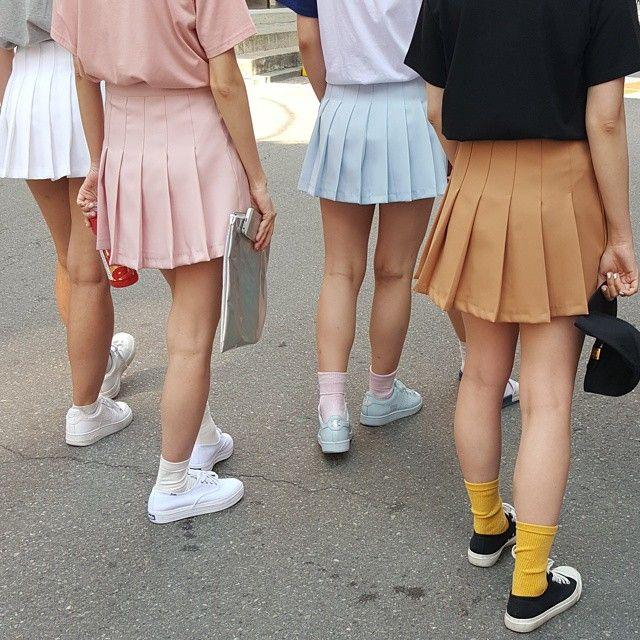 Pin By Nina Harcus On Colour Fashion Korean Fashion Tennis Skirt Outfit