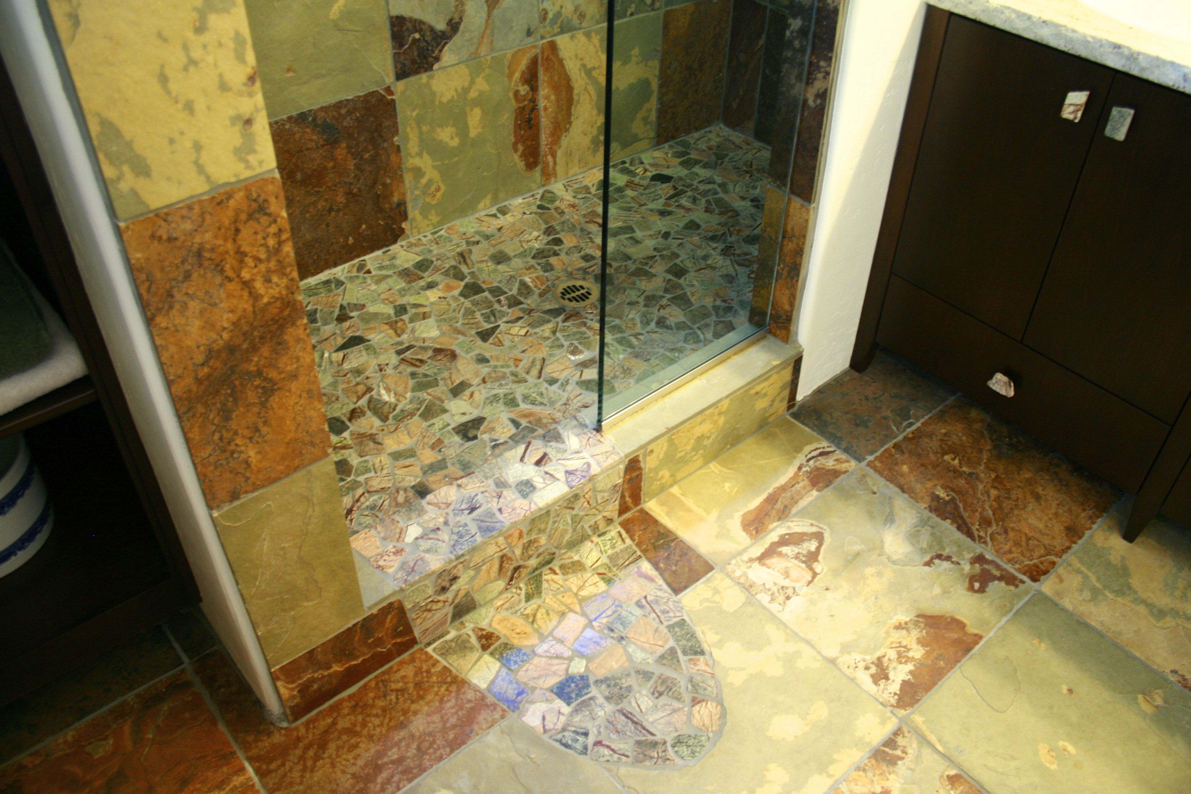 Try something different for your shower floor! Spill over your ...