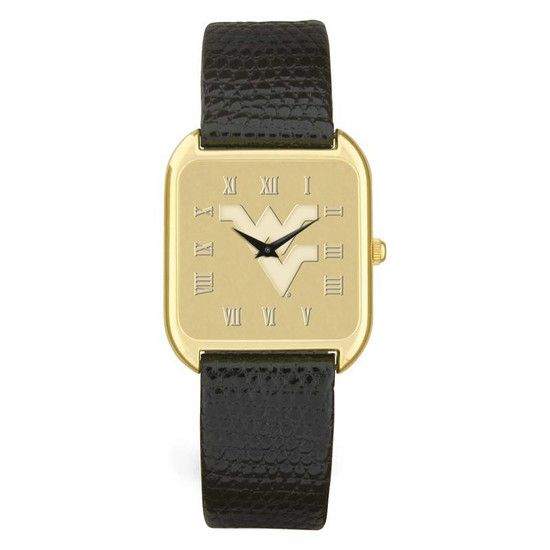 WVU Men's Gold ION-Plated Wristwatch - Black Leather Strap