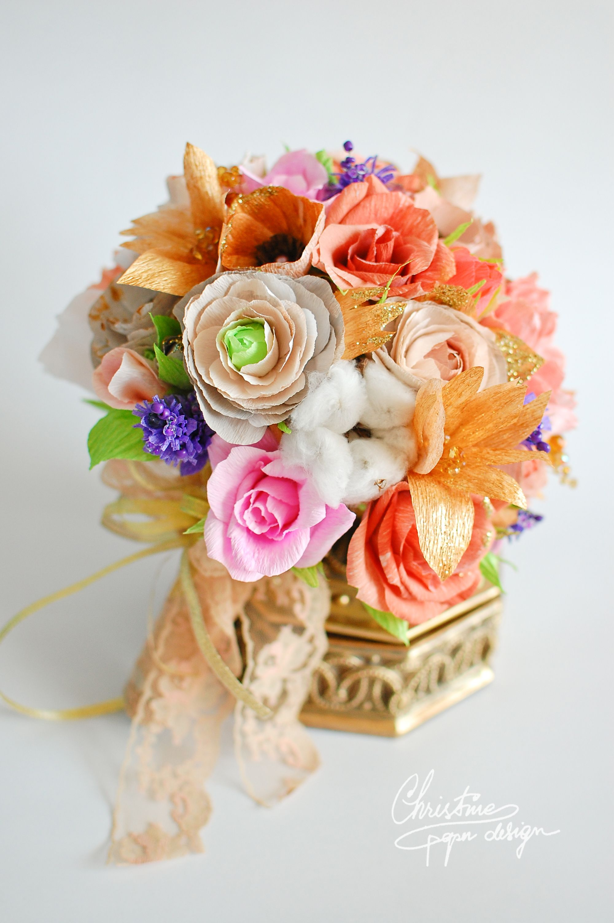 Diy Glamorous Paper Flowers Bouquet With Gold And Shades Of Pink
