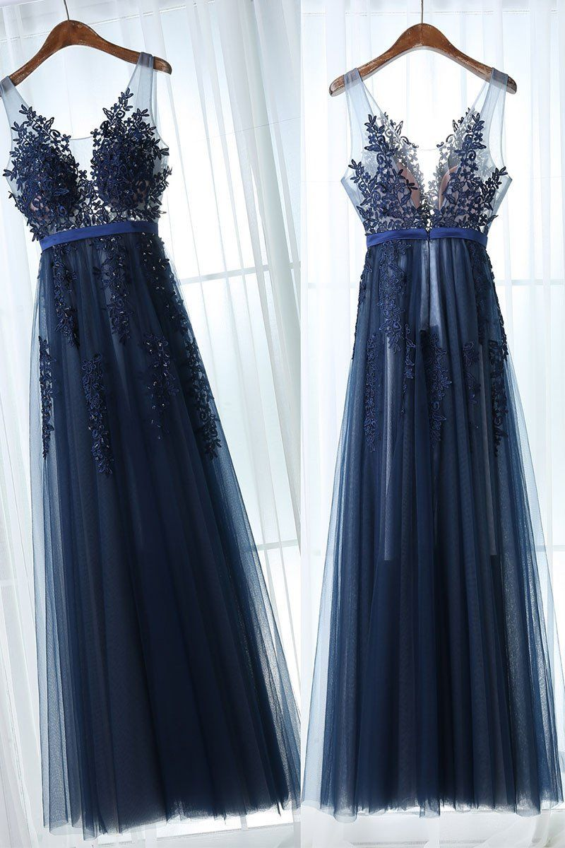 Dark blue tulle lace long prom dress dark blue bridesmaid dress in