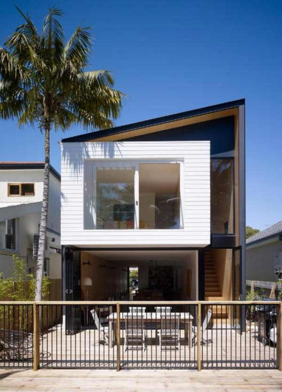 2 Story Houses With Narrow Space Narrow Lot And Narrow House Design 281 29 Jpg 575 800 Narrow House Designs Modern House Facades Modern Minimalist House