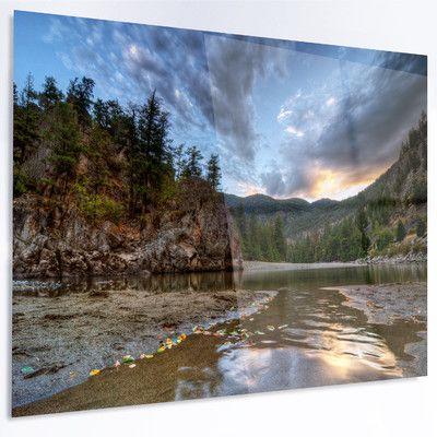 "DesignArt 'Peaceful Evening at Mountain Creek' Photographic Print on Metal Size: 30"" H x 48"" W x 1"" D"