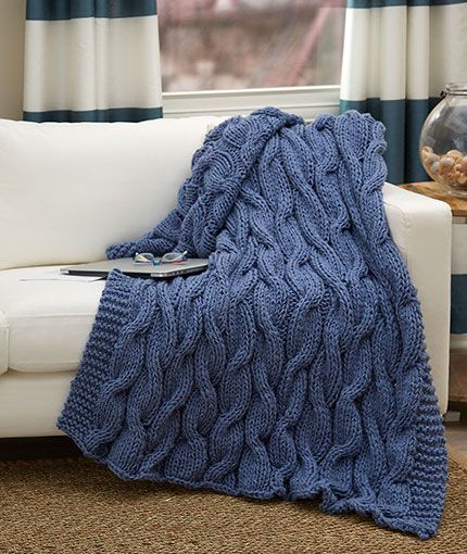 Casual Cables Throw Free Knitting Pattern Lw5459 Plaid Pinterest