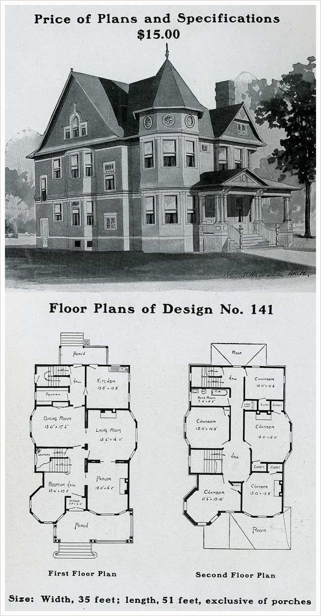 1909 home plans love the circular rooms things i love for Queen anne house plans historic